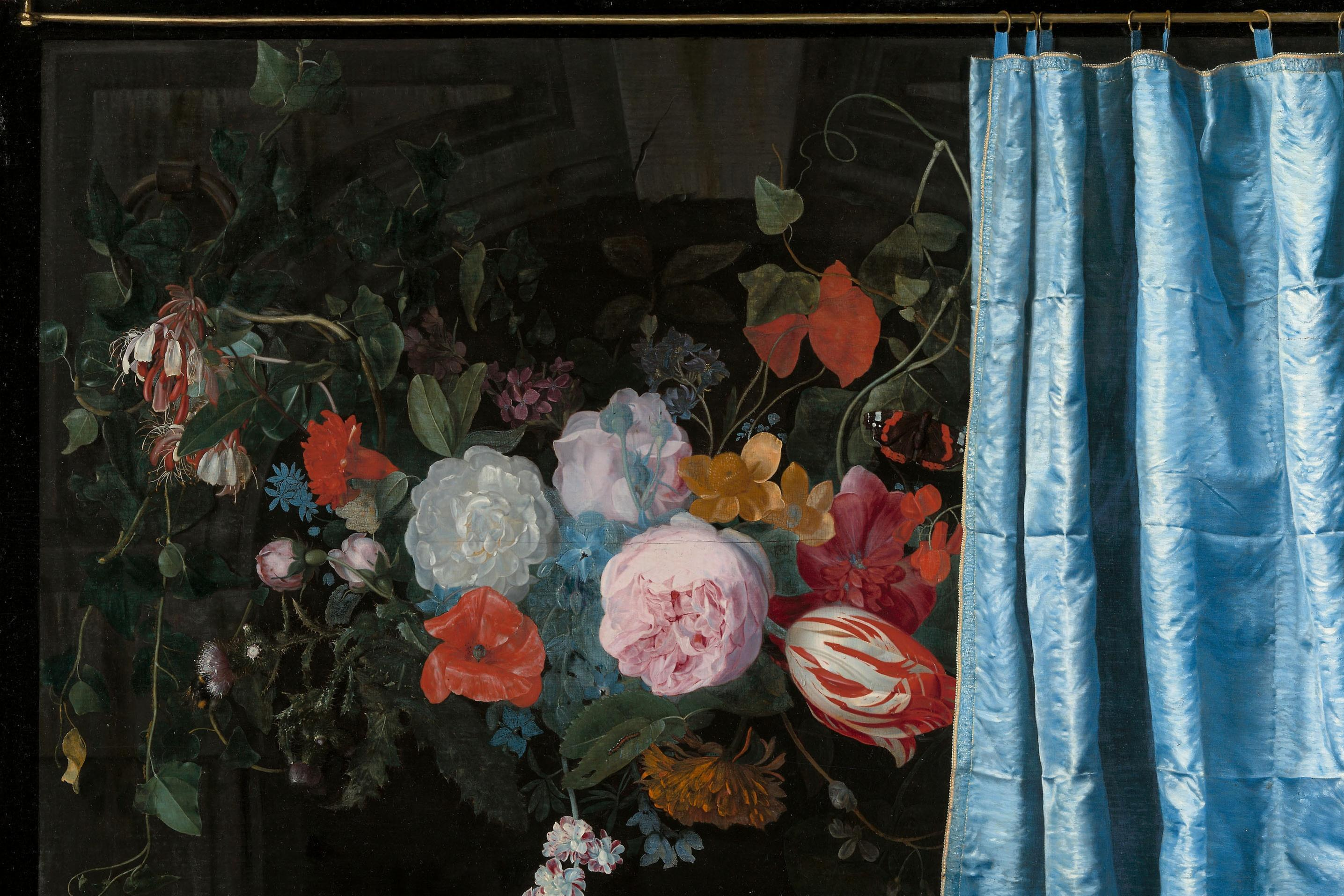 Image result for man hiding behind curtain painting